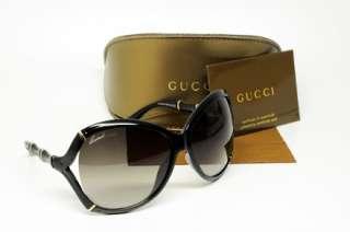 GUCCI GG 3509 D28 SUNGLASSES SHINY BLACK PLASTIC BROWN GRADIENT LENS