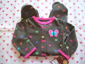 CARTERS BROWN PINK SLEEP AND PLAY GIRLS NWT BUTTERFLYS