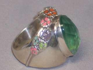 HEAVY STERLING SILVER GREEN QUARTZ & ENAMEL FLOWER RING