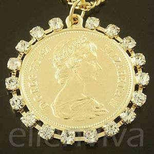 Royal Highness Queen Elizabeth Coin Rhinestone Necklace Gold Tone