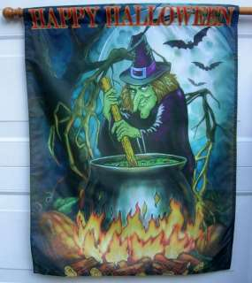 LARGE HALLOWEEN WITH WITCH FLAG 35 X 29 NEW FREE SHIP