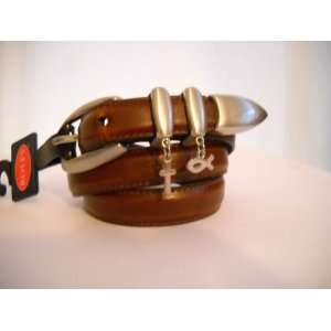 Brown Leather Christian Belt with Cross and Fish Charms (L