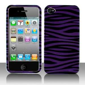 Purple Black Zebra Skin for Apple iPhone 4S Phone Cover Case