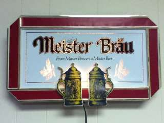 MEISTER BRAU BEER LIGHTED OLD BREWERY ADVERTISING PUB BREWING VINTAGE