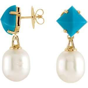 /12Mm Circle South Sea Cultured Pearl And Genuine Turquoise earrings