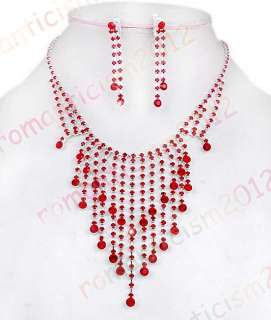 Red rhinestone choker necklace earring set Wedding