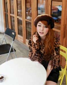 2011 Winter Celebrity Stole Large Yearly Shawl LEOPARD Print Neck