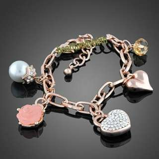 18K rose gold GP swarovski crystal rose pearl bracelet B221