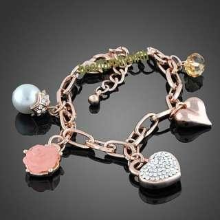 18K rose gold GP swarovski crystal rose pearl bracelet B221