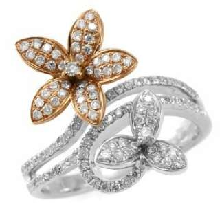 FINE DIAMOND FLORAL RIGHT HAND RING 14K WHITE & ROSE/PINK GOLD FLOWER