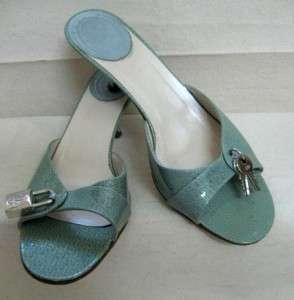 CHRISTIAN DIOR Light Blue Lock & Key Slide Shoes Sz 38