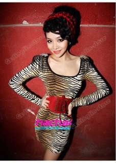 New Long Sleeve Sexy Tiger Prints Shoulder Pad Clubwear Party Mini