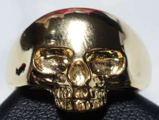 BRASS WITH REAL 24K YELLOW GOLD PLATED SKULL RING lady version