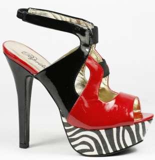 & Black Zebra High Heel Slingback Platform Dress Sandal 10 us