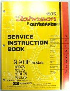1975 OMC Johnson Outboard Motor Service Instruction Manual 9.9 HP