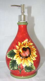 RED SUNFLOWER CERAMC BATHROOM/KITCHEN SOAP/LOTION DISPENSER NEW