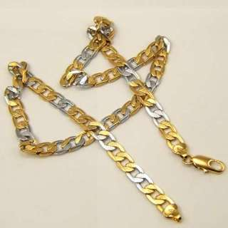 CHIC CHAIN 18K YELLOW/WHITE GOLD GEP SOLID GP NECKLACE
