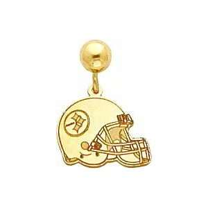 14K Pittsburgh Steelers Helmet Post Dangle Earrings