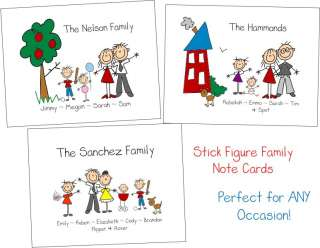 STICK FIGURE FAMILY Personalized Note Cards Stationery
