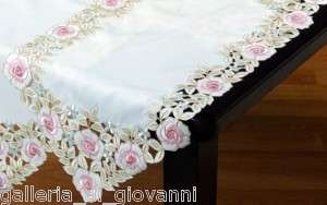 Pastel Beauty Lace Table Runner Doily Pink Rose 72 Flower Floral