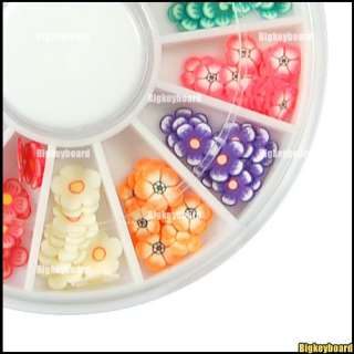 120x 3D Mix Flower Fimo Nail Art Tips Decorations Wheel
