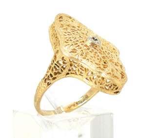 BEAUTIFUL VINTAGE 14K YELLOW GOLD FILIGREE FLORAL RING