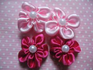 60 Hand Made Satin Ribbon Flower Bow/Pearl Bead/sew on/trim/sewing 2