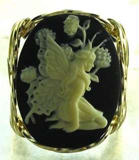 Beautiful Butterfly Fairy Cameo Ring 14k Rolled Gold