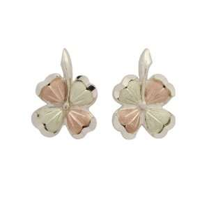 Black Hills Gold Sterling Silver Four Leaf Clover Earrings
