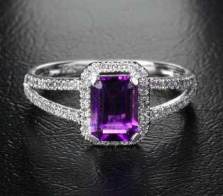 Emerald Cut Amethyst .25ct Diamond 14K White Gold Pave Engagement Ring