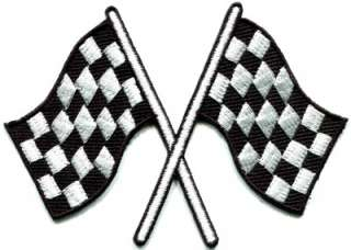 Checkered flag chequered auto car racing rockabilly applique iron on
