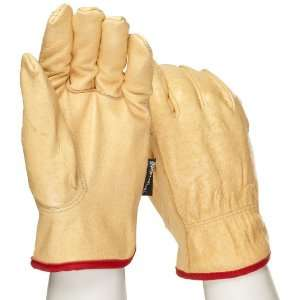 West Chester 9940KT Leather Glove, Shirred Elastic Wrist Cuff, 9.5