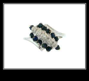 Ladies 10K White Gold Sapphire & Diamond Fashion Ring