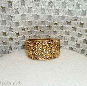 Beautiful Golden Sparkle Crystal Gold Plated Wide Band Ring 8.5