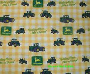 Fabric Shower Curtain Sewn From John Deere Yellow Check Cotton Print