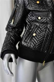 Quilted Glossy Black Bomber Puffer Jacket Coat Gold Zippers NEW M