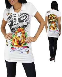White Tattoo Tiger Rose Print Rhinestone Short Sleeve Top T Shirt