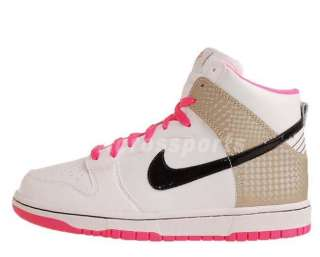 Nike Dunk High GS White Gold Black Laser Pink Womens Kids Casual Shoes