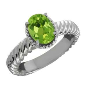1.15 Ct Oval Green Peridot 14k White Gold Ring Jewelry