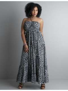 LANE BRYANT   Animal print crinkle chiffon maxi dress