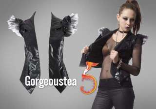 Modern Glossy Punk Rock Leather Vests Jackets Coats Particular Charm