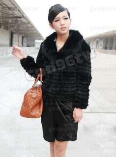 100% New Real Genuine Rex Rabbit Fur Huge Fox Collar Jacket Coat