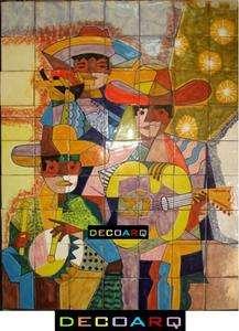 Talavera Tile Mural EL MARIACHI DESIGN AJUA 63 pcs 28x36 VIVA MEXICO
