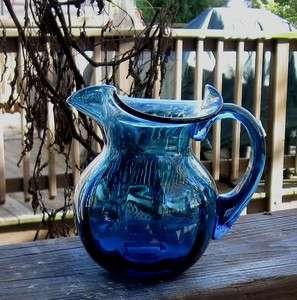 PITCHER AQUA BLUE GREEN BLOWN GLASS LITTLE BEAUTY BLOWN