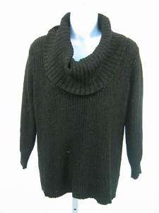 MICHAEL KORS Black Cowl Neck Sweater Metallic Sz S