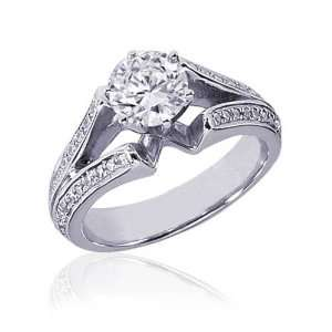 Round Diamond Vintage Engagement Ring Split Band Pave Set 14K GOLD GIA