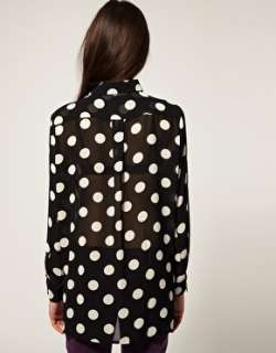 Minkpink  Minkpink Stop and Stare Polka Dot Chiffon Blouse at