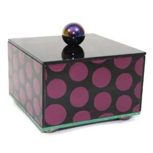 Artistic Glass Jewelery Trinket Box   5x5x2