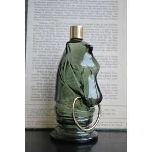 Vintage Avon Decanter, Horse Head, Green Glass Bottle