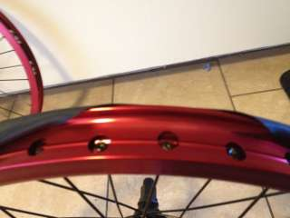 COMPLETE WHEEL SET WHEELS RED FRONT BLACK BACK 9 TOOTH PROFILE FIT BMX